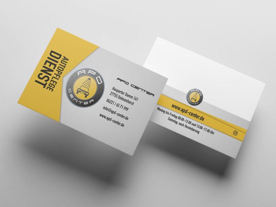 Kreation Referenz Visitenkarten für APD Center