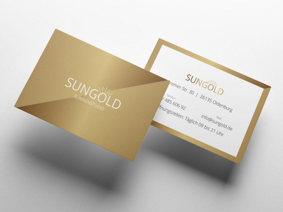 Kreation Referenz Visitenkarten Sungold Sonnenstudio | ARTKURAT ® Werbeagentur