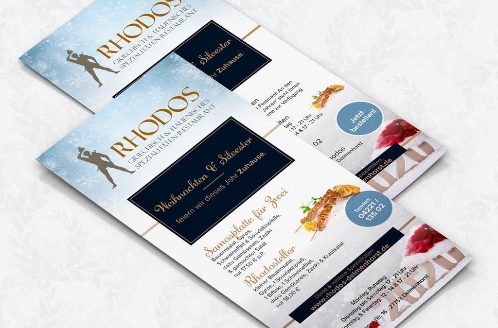 Referenz Kreation Flyer für das Restaurant Rhodos