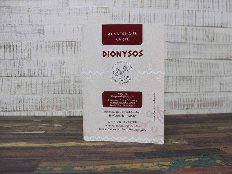 Kreation. & Print. - Ausserhauskarte Dionysos | ARTKURAT ® Werbeagentur - Bremen, Delmenhorst, Oldenburg | Kreativ im Detail.