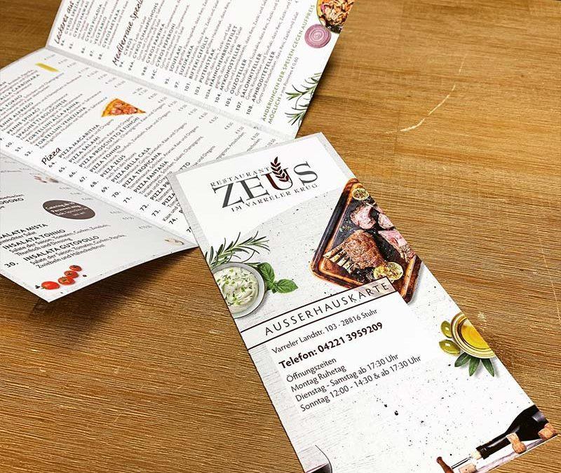 Kreation. & Print. - Ausserhauskarte Zeus Stuhr | ARTKURAT ® Werbeagentur - Bremen, Delmenhorst, Oldenburg | Kreativ im Detail.