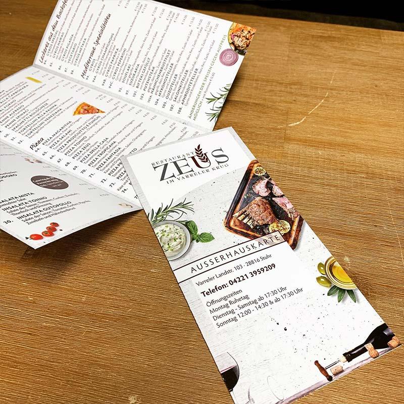 Ausserhauskarte Restaurant Zeus | ARTKURAT Werbeagentur