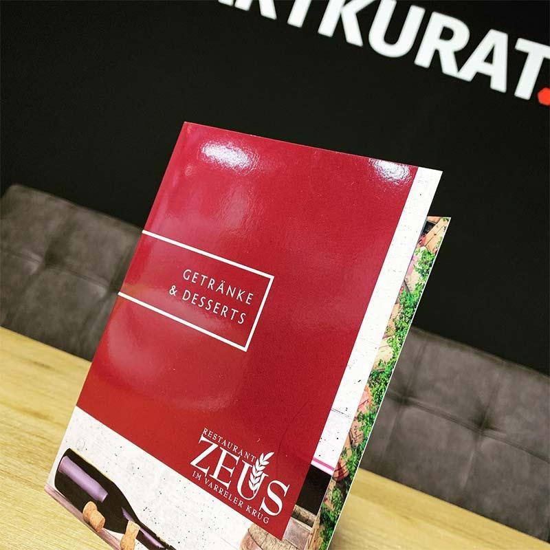 Getränkekarte Restaurant Zeus | ARTKURAT Werbeagentur