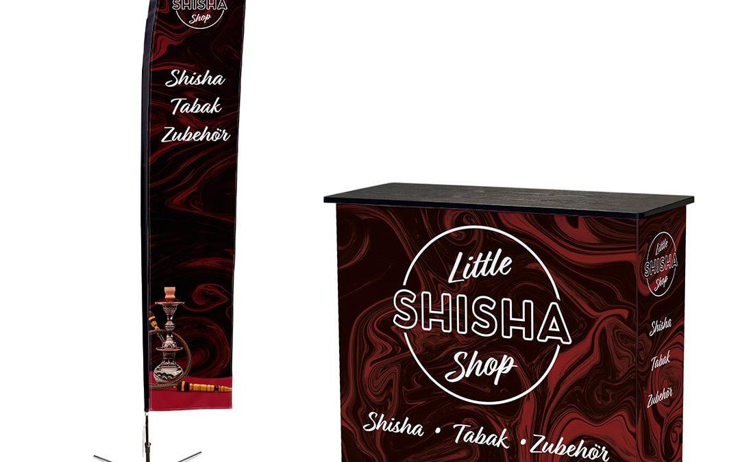 Promotion Material Flagge und Theke für Little Shisha Shop